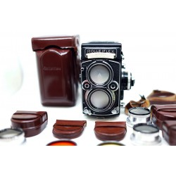 Rolleiflex 2.8F TLR camera with accessories