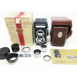 Rolleiflex T White Face Carl Zeiss Opton Tessar 75mm f/3.5 TLR Camera (Full Set)