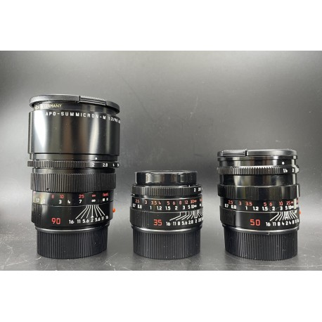 Leica Summicron 35mm F/2 Asph Black Paint,Summilux-M 50mm F/1.4 Black Paint & Apo-Summicron-M 90mm F/2 Asph Black Paint